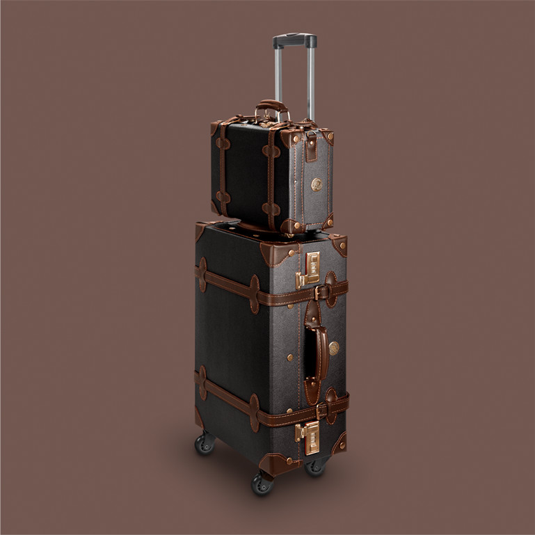 lightweight suitcase in vintage retro look retropunk adventure brown black