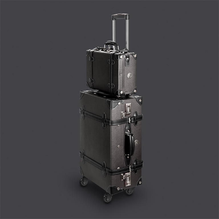 lightweight suitcase in vintage look retropunk meridian black