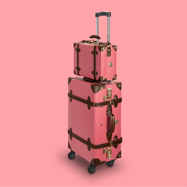 lightweight suitcase in vintage retro look retropunk pink suitcase