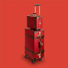 lightweight suitcase in vintage retro look retropunk passport red