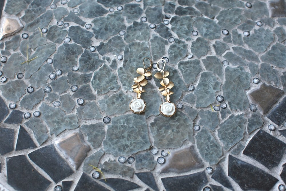 Beautiful golden roses earrings from a porcelain jewelry designer