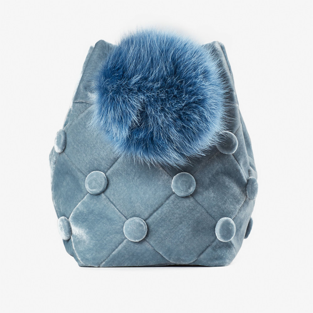 Laimushka Velvet Bucket Bag with Pom Pom emerging brand