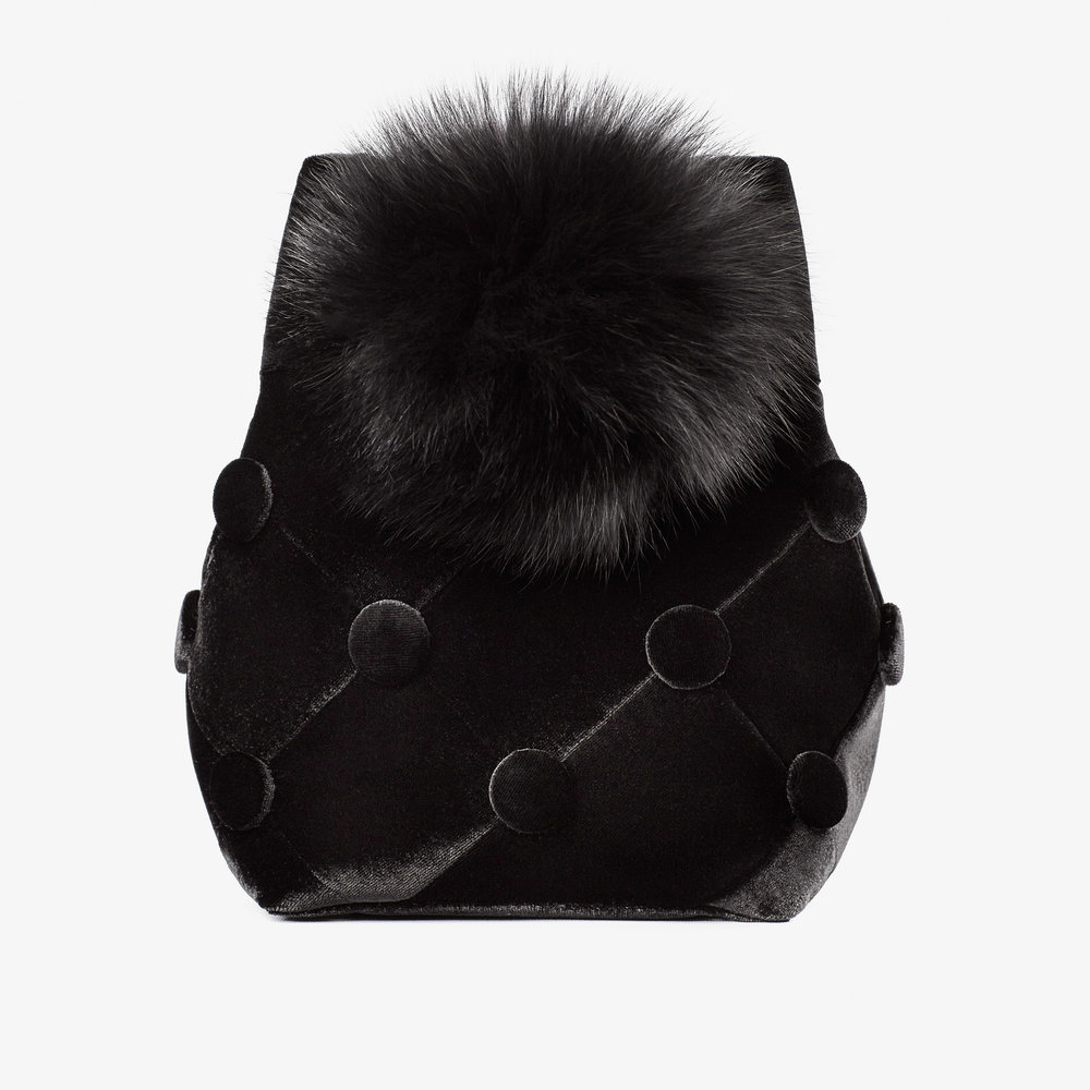 riga designers Laimushka Velvet Bucket Bag with Pom Pom