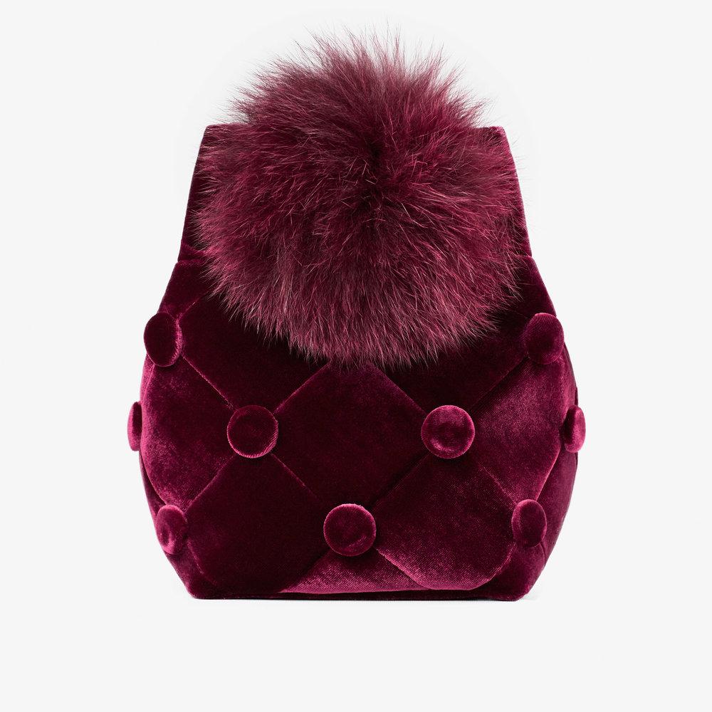 stockholm based design brand Laimushka Velvet Bucket Bag with Pom Pom