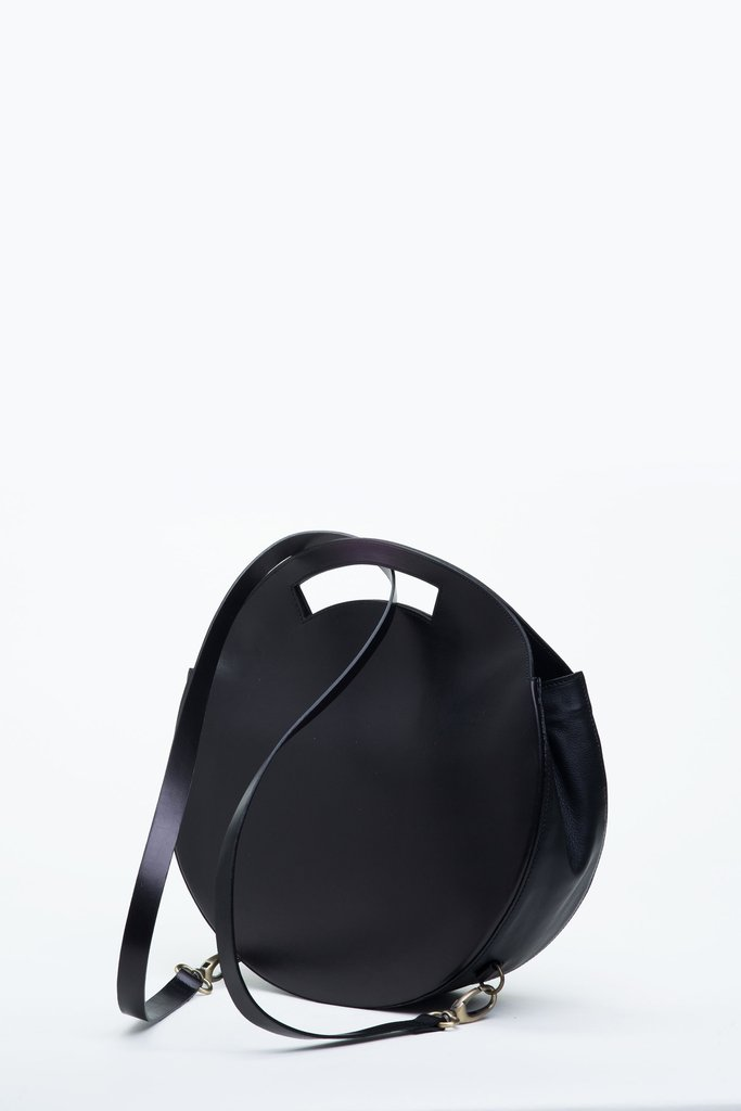Circular black backpack by emerging brand