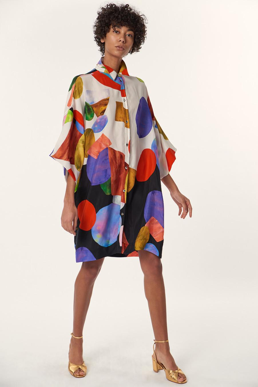 Sustainable colorful shirt dress