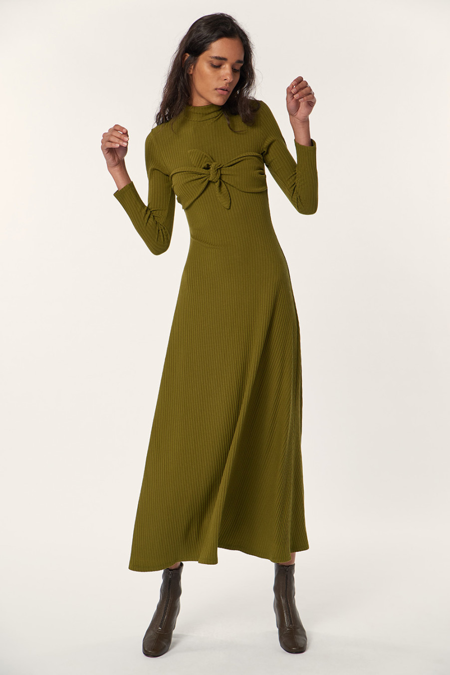 Beautiful olive sustainable dress with bow
