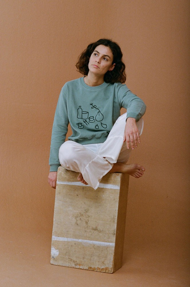 turquoise ethical fashion sweater with art print