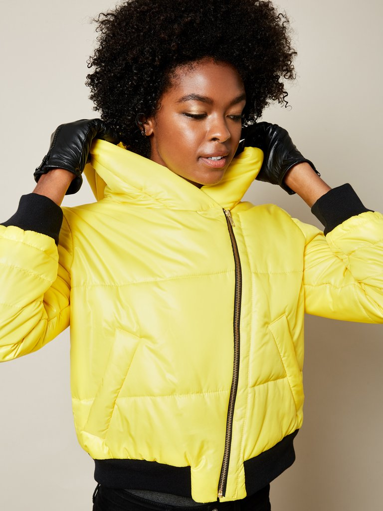 yellow winter jacket vegan cruelty free