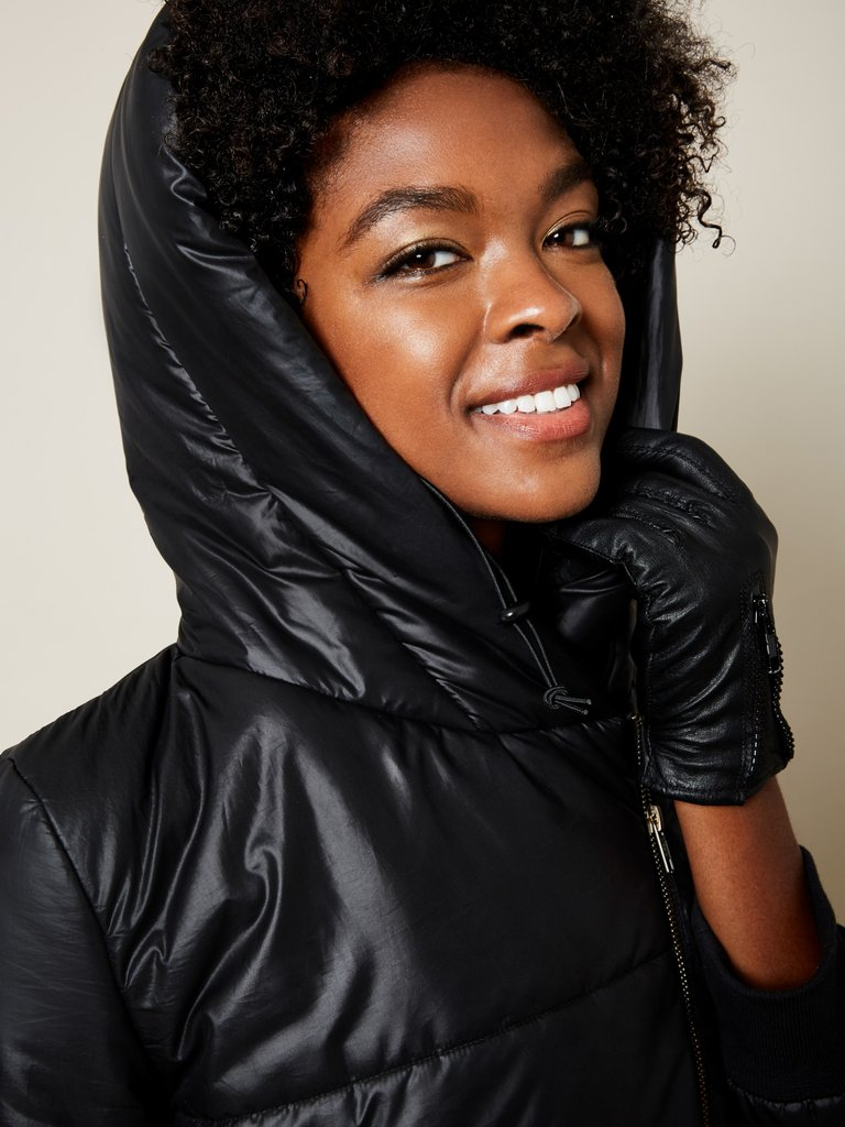 black vegan winter jacket without down feathers