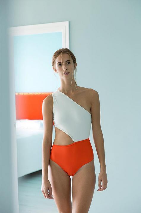 ethical swimwear minimailistic one shoulder swimsuit orange