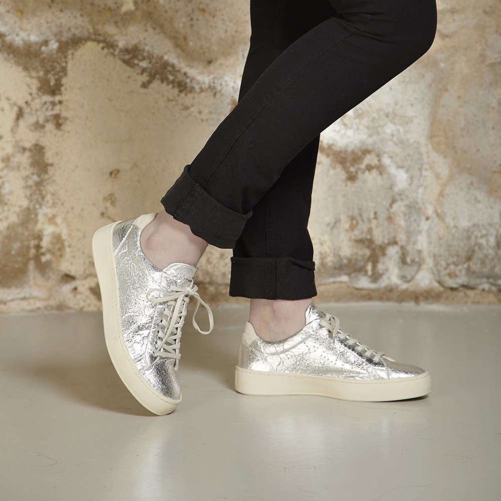 Ethical fashion shoe brand silver sneakers