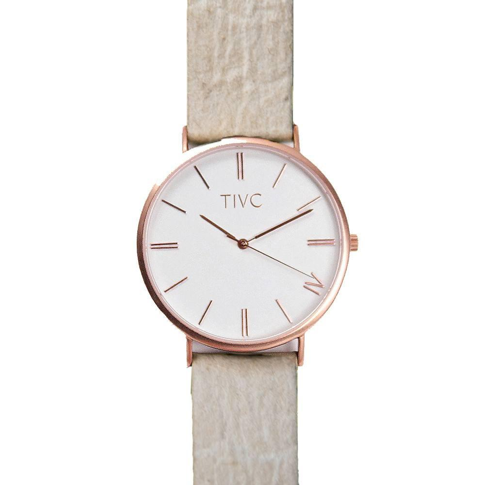 rosegold watch vegan wristband made with sustainable material