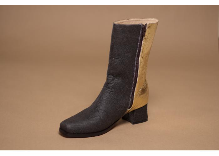 gold black color blocking boots made of vegan leather alternative