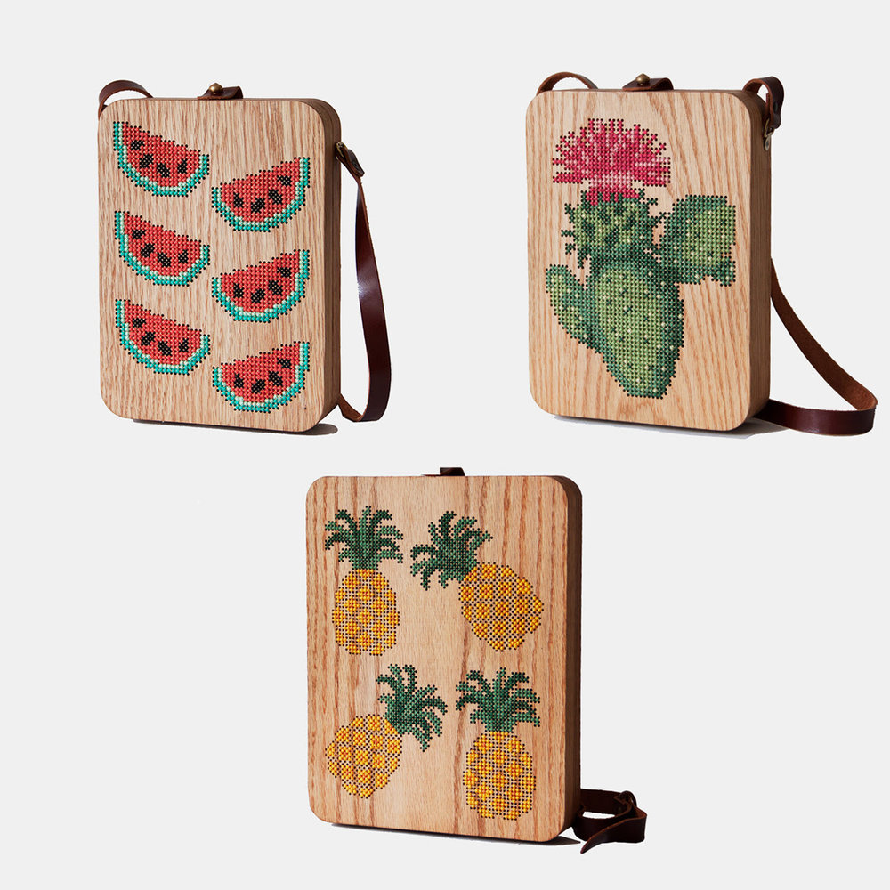 grav grav sustainable bags made of wood with embroidery - ethical fashion