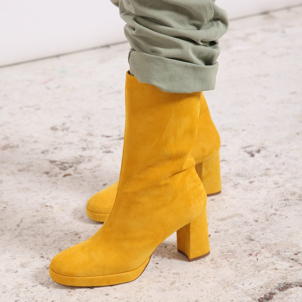 beautiful ethical fashion boots in bright yellow suede handcrafted in spain