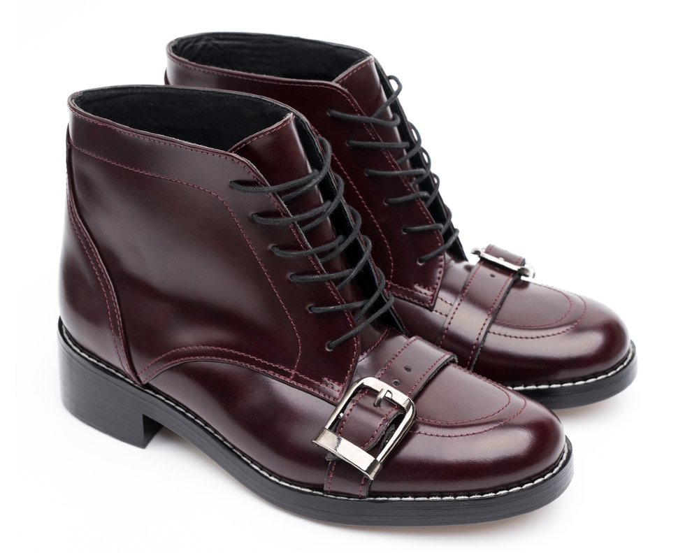 burgundy ankle boots with front buckle by a latvian label sustainable fashion