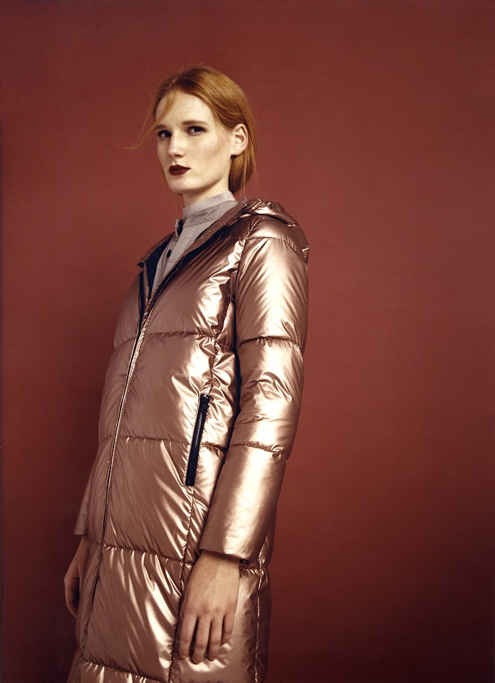 bronze coat made of recycled plastic bottles
