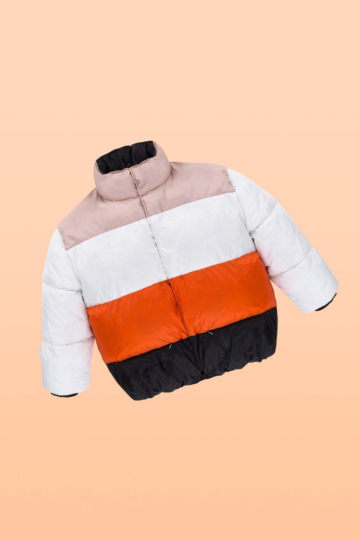 crueltyfree winter jacket color blocking