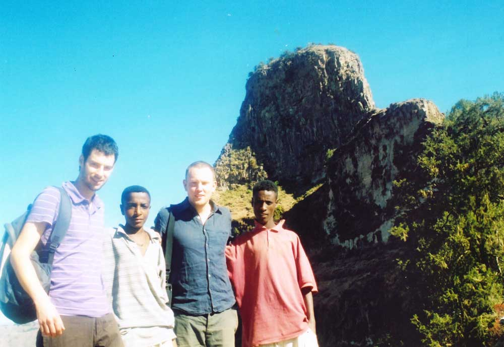 Lark director Paul (left) meeting Haymanot (second left) in Ethiopia in 2006
