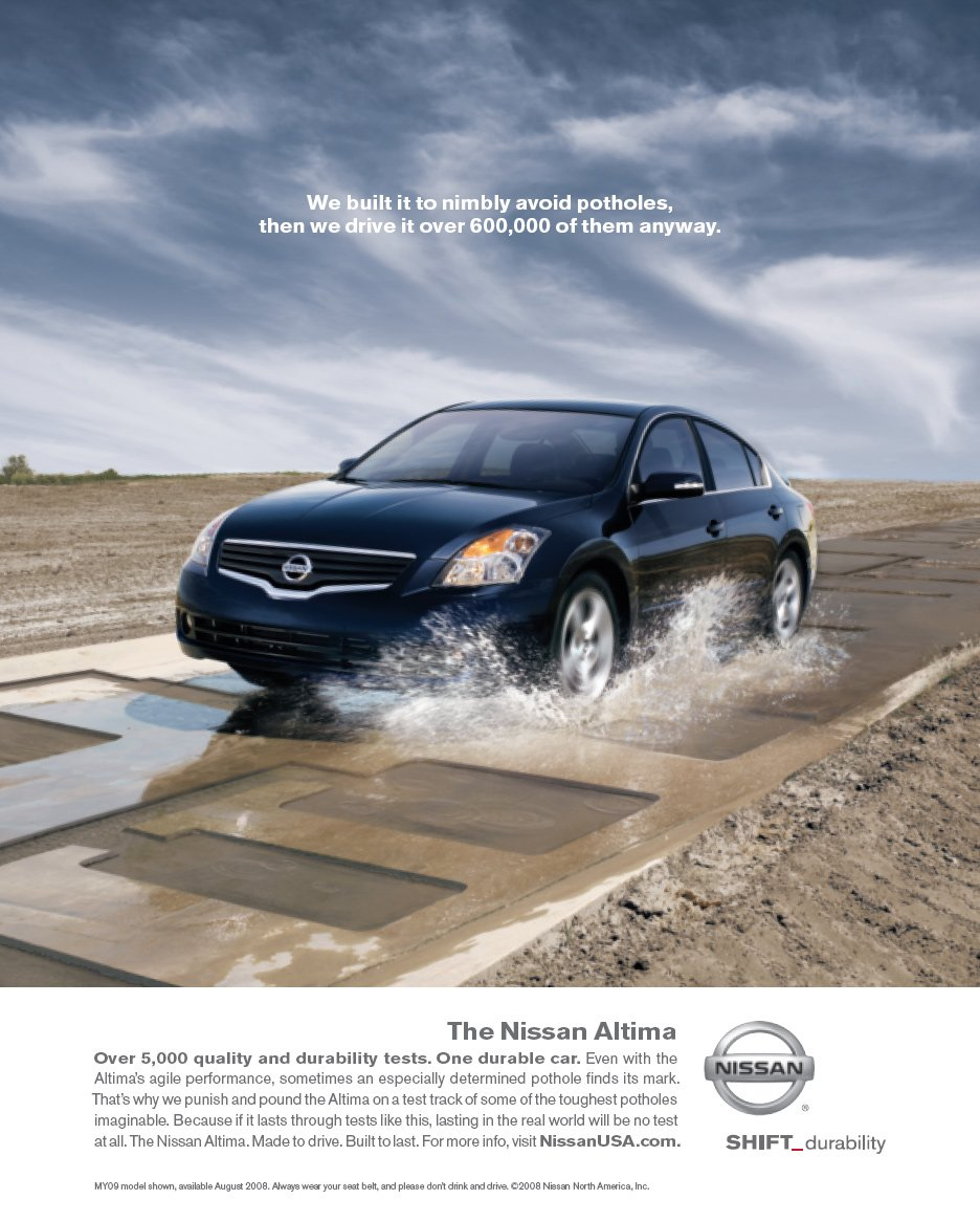 (Click to enlarge) Nissan Altima print advert, May 2008. Agency TBWA\CHIAT\DAY Los Angeles, USA