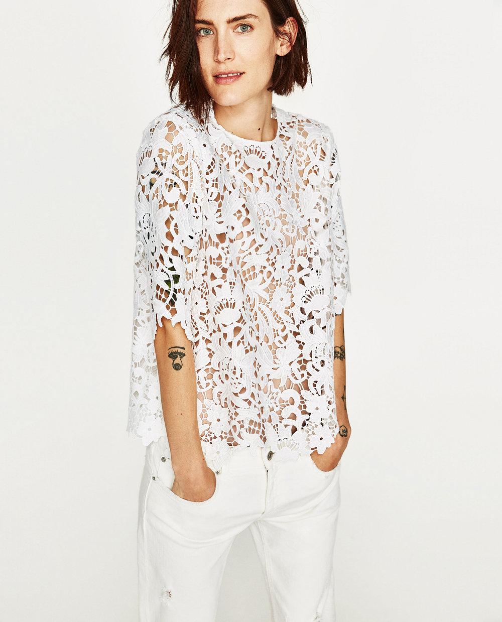 Zara: lace top, £29.99