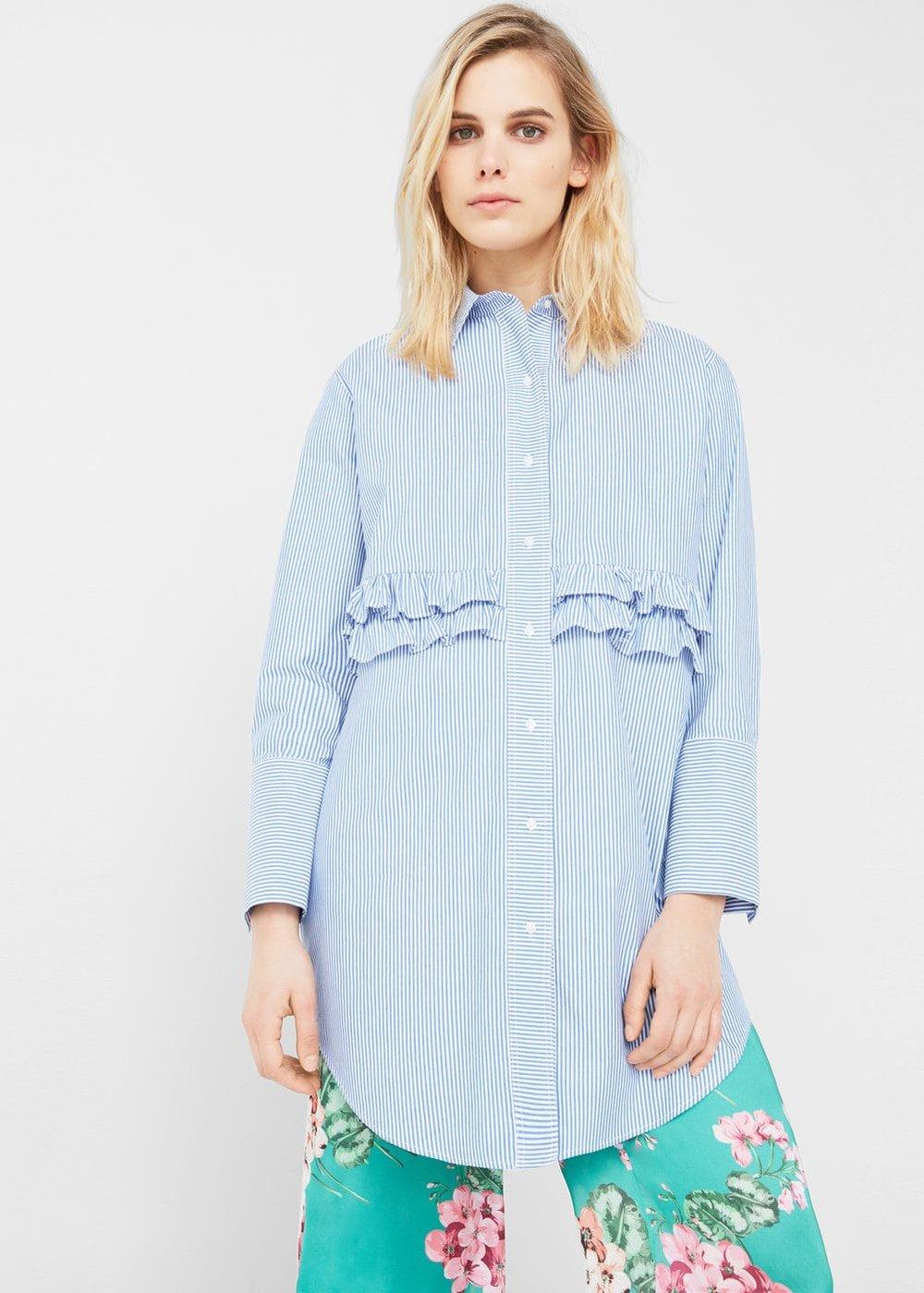 Mango: ruffled poplin shirt, £35.99