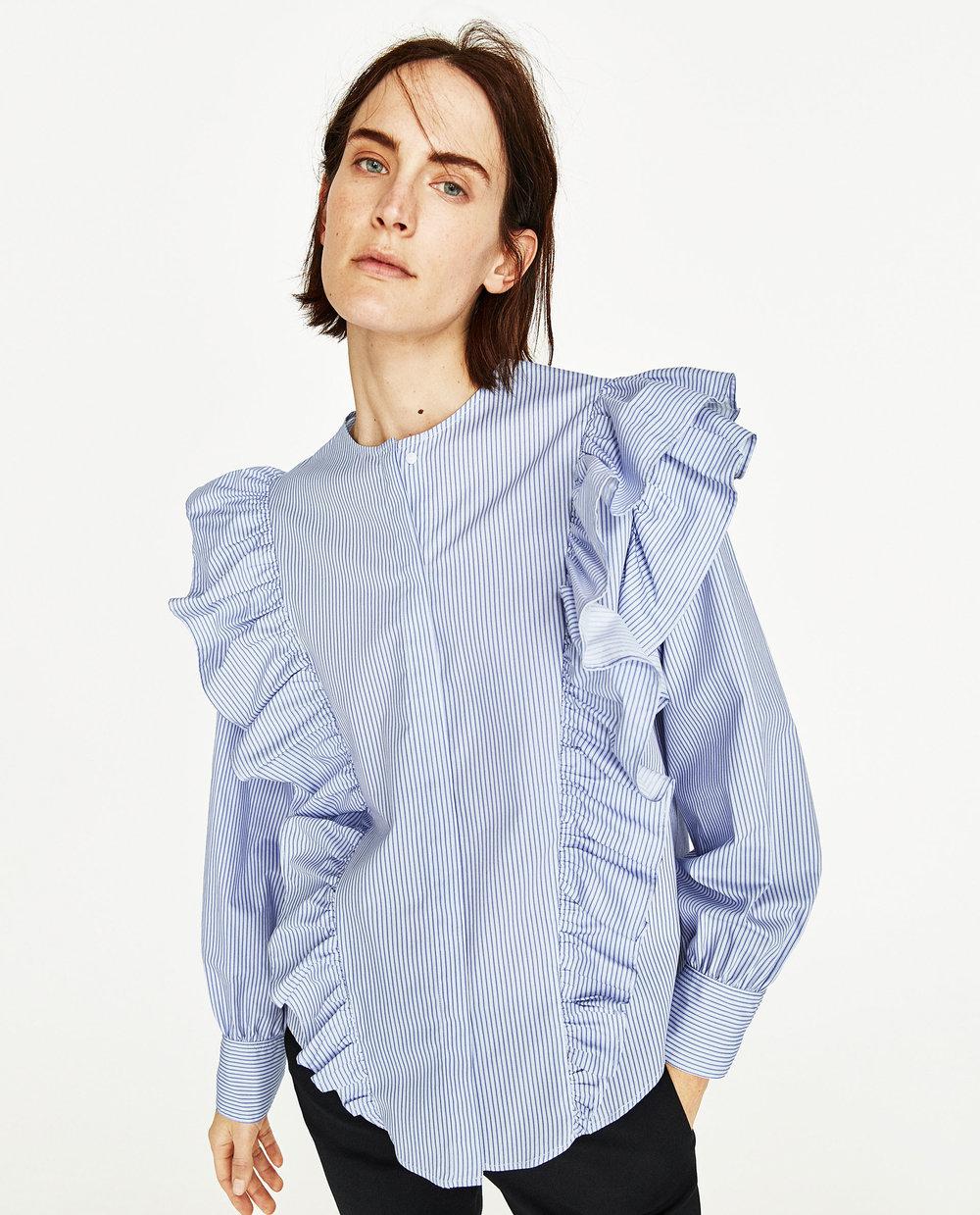 Zara: striped poplin blouse, £29.99