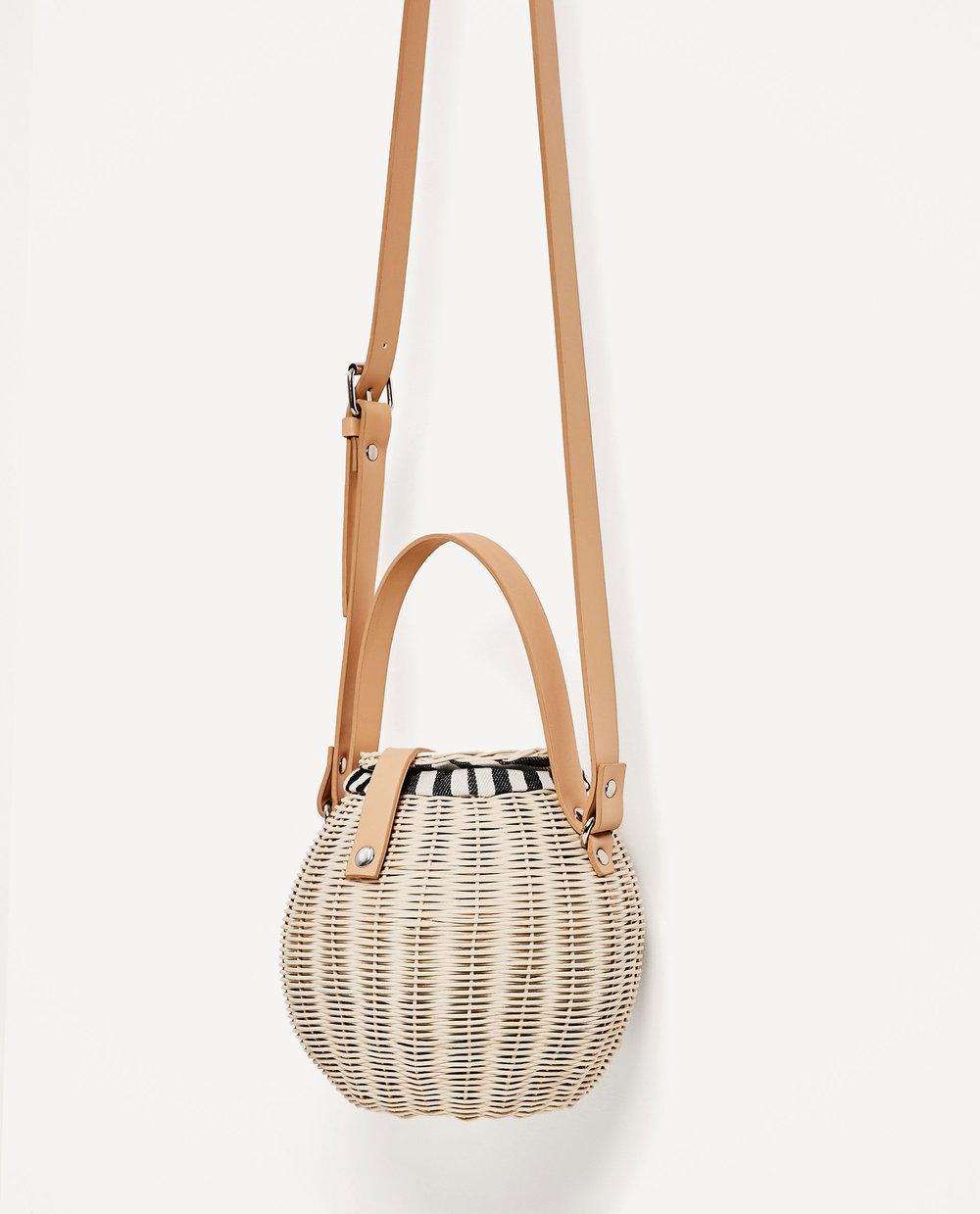 Zara: raffia bucket bag, £35.99
