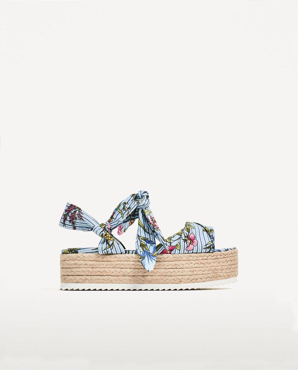 Floral Tied Raffia Wedge, Zara, £49.99