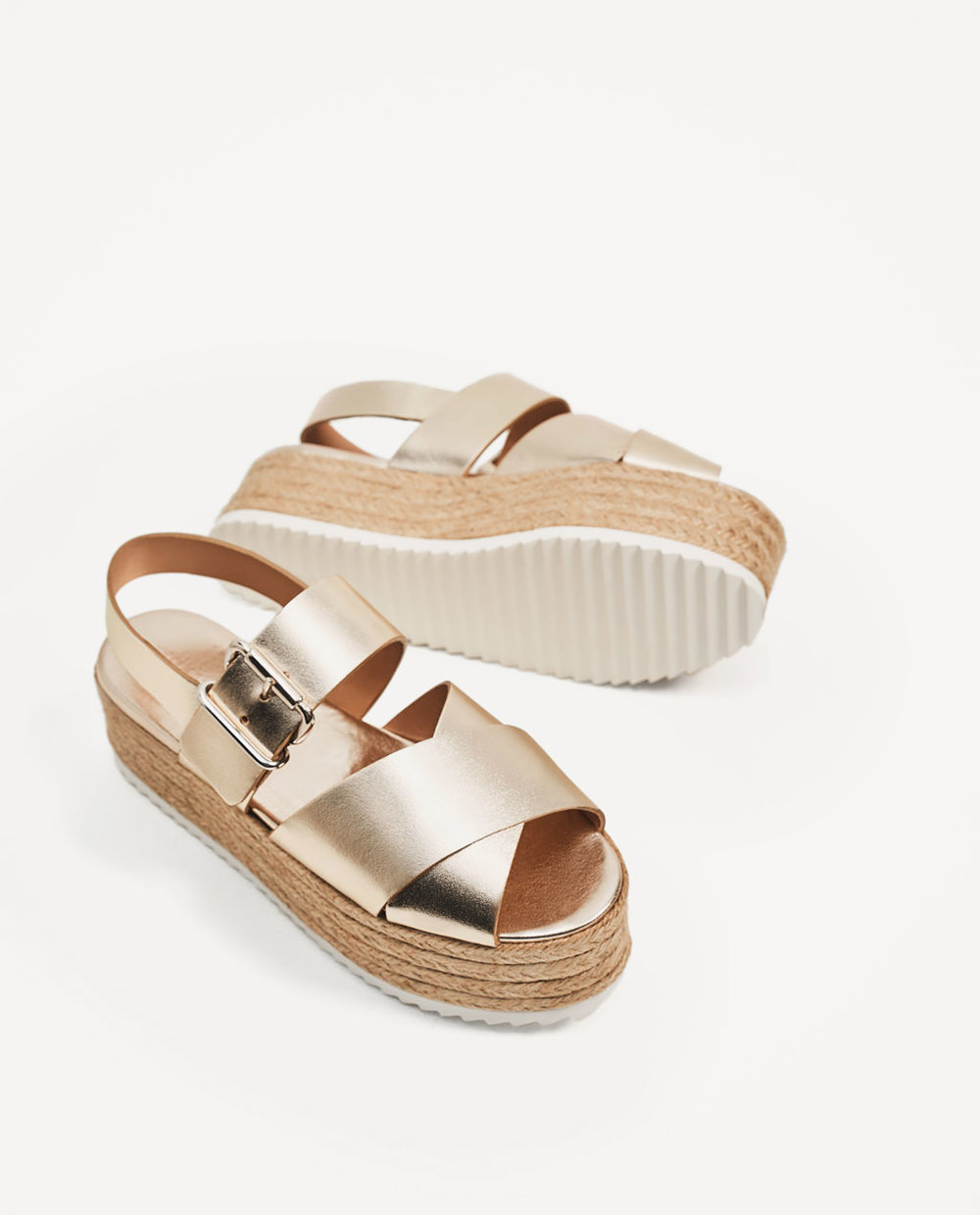 Leather Wedges with Jute Platform, Zara, £59.99