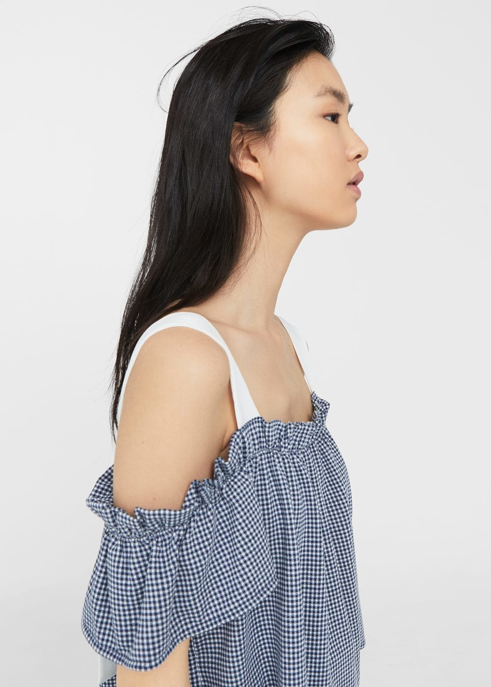 Gingham off-shoulder top, £15.99