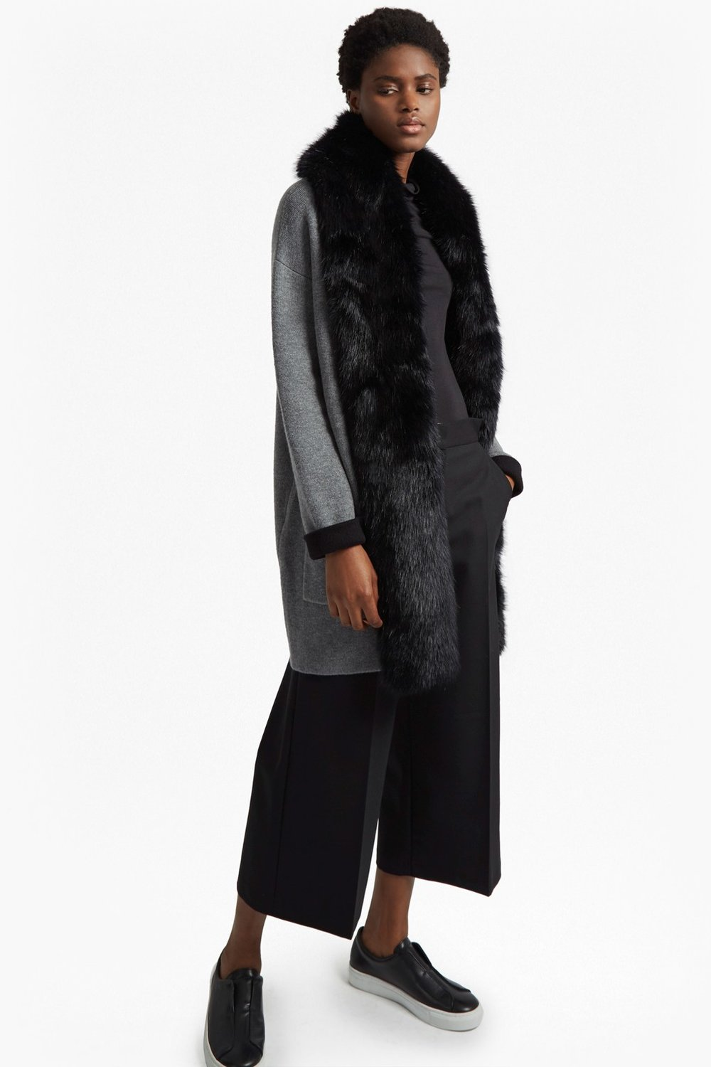 French Connection Faux Fur Collar Cardigan