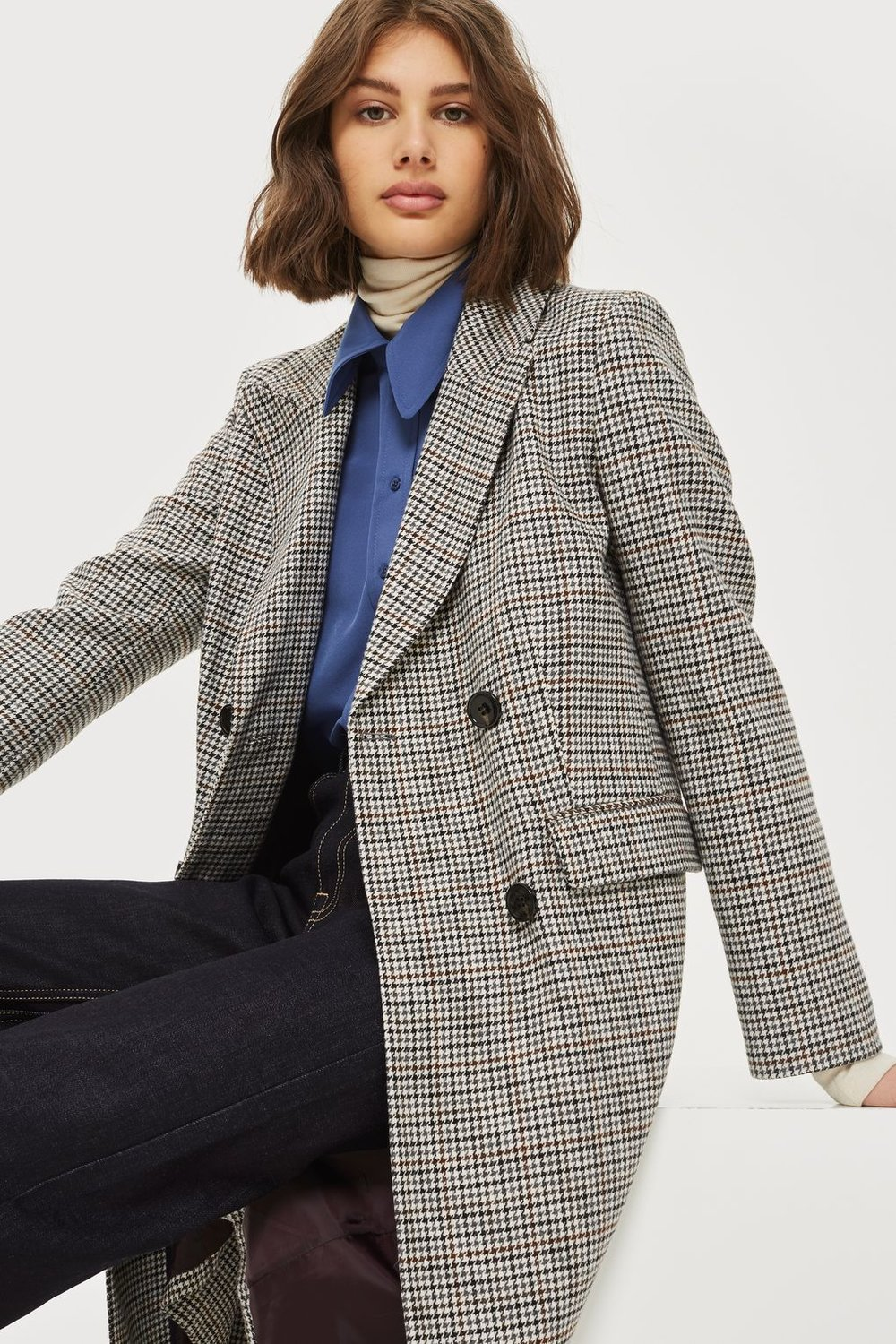 Checked Editor's Crombie Coat, Topshop, £95