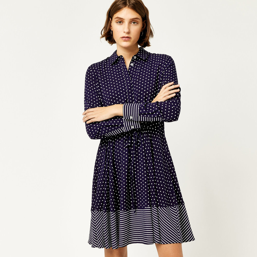 Stripe & Spot Shirt Dress, Warehouse, £39