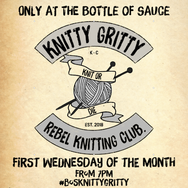WEDNESDAY 21ST MARCH  7PM - 10PM  KNITTY GRITTY - REBEL KNITTING CLUB