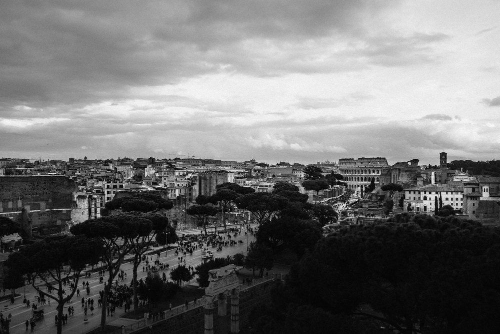 Scenic View of Rome from above with  the Coliseum from above, wi