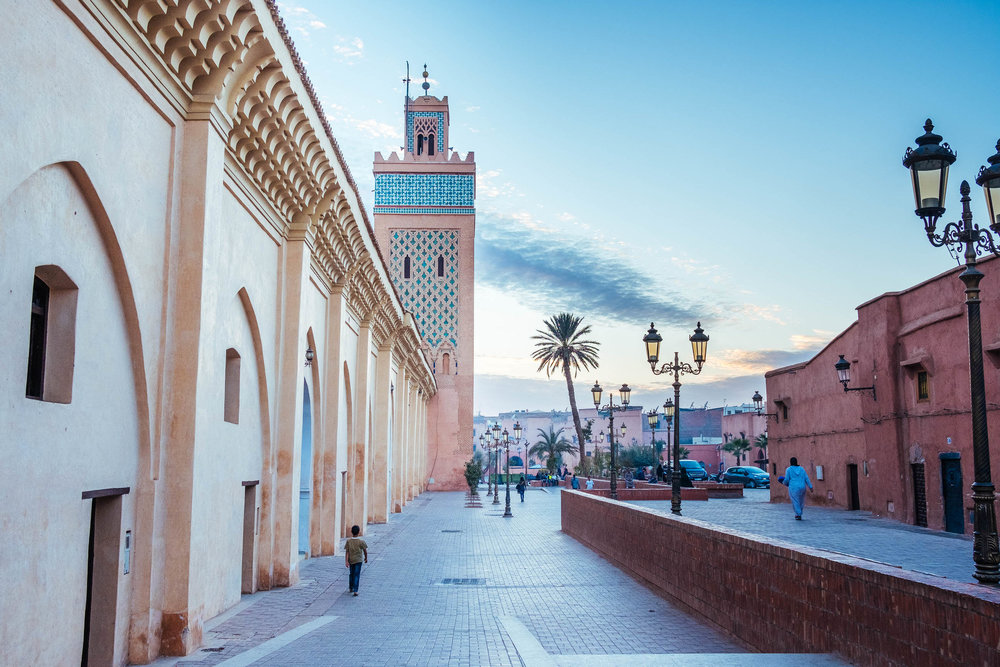 MARRAKECH, MOROCCO - NOVEMBER, 2017: Exterior view of Moulay El