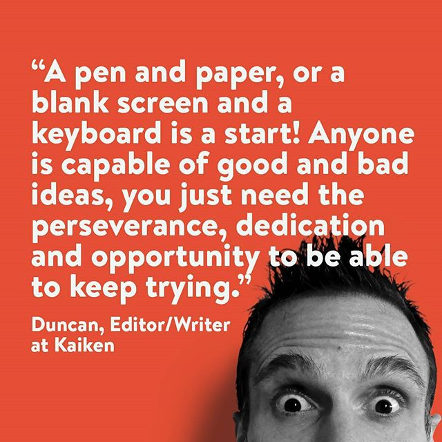 In honor of November and National Novel Writing Month, we're kicking off our Kaiken Tips series, first theme being writing. If you're an aspiring author or suffering from writer's block, fear not! Kaiken's writing professionals are here to help.  Here's the first ever Kaiken Tip by Duncan, Editor and Writer at Kaiken. • • • #kaikenentertainment #kaiken #tip #november #nanowrimo #wednesdaywisdom #writing #script #scriptwriting #writersblock #publishing #animation