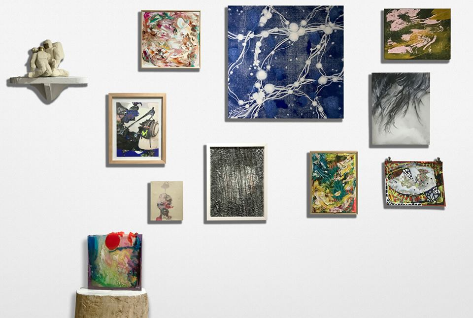 Clockwise from left: Kevin Curran,  Astronauts , 2006; Jane LaFarge Hamill,  Untitled , 2017; Karen Tompkins,  Supercluster 8 , 2015; Greg Lindquist,  Smoke and Water, Cadmium , 2016; Julia von Eichel,  Dark Roots , 2017; Erika Ranee,  The Palace , 2017; Sebastian Vallejo,  Evening Flowers , 2017; Elana Herzog,  Untitled , 2017; Ben Godward,  Coral (prince) , 2017; Michael Alan,  O My head , 2006; Nicole Awai,  Pounce Girl(s)! , 2017
