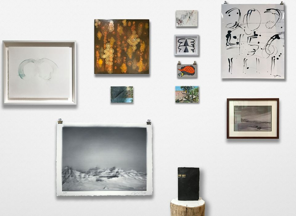 Clockwise from left: Clayton Porter,  Untitled (sweat print) , 2016; Riad Miah,  No 9 , 2010; Jason Bereswill,  Untitled (lil gutted landscape),  2017; Gelah Penn,  Blight , 2017; Amy Feldman,  Morning Mourning , 2017; Amanda Church,  Orange Raincloud , 2017; Jason Bereswill,  Arizona Shootout , 2017; Jason Lazarus,  Untitled , 2017; Meg Stein,  Untitled (I am a clever girl) , 2014; Joe Nanashe,  The Art? The Art! , 2017; Justin Brice Guariglia,  Untitled , 2017