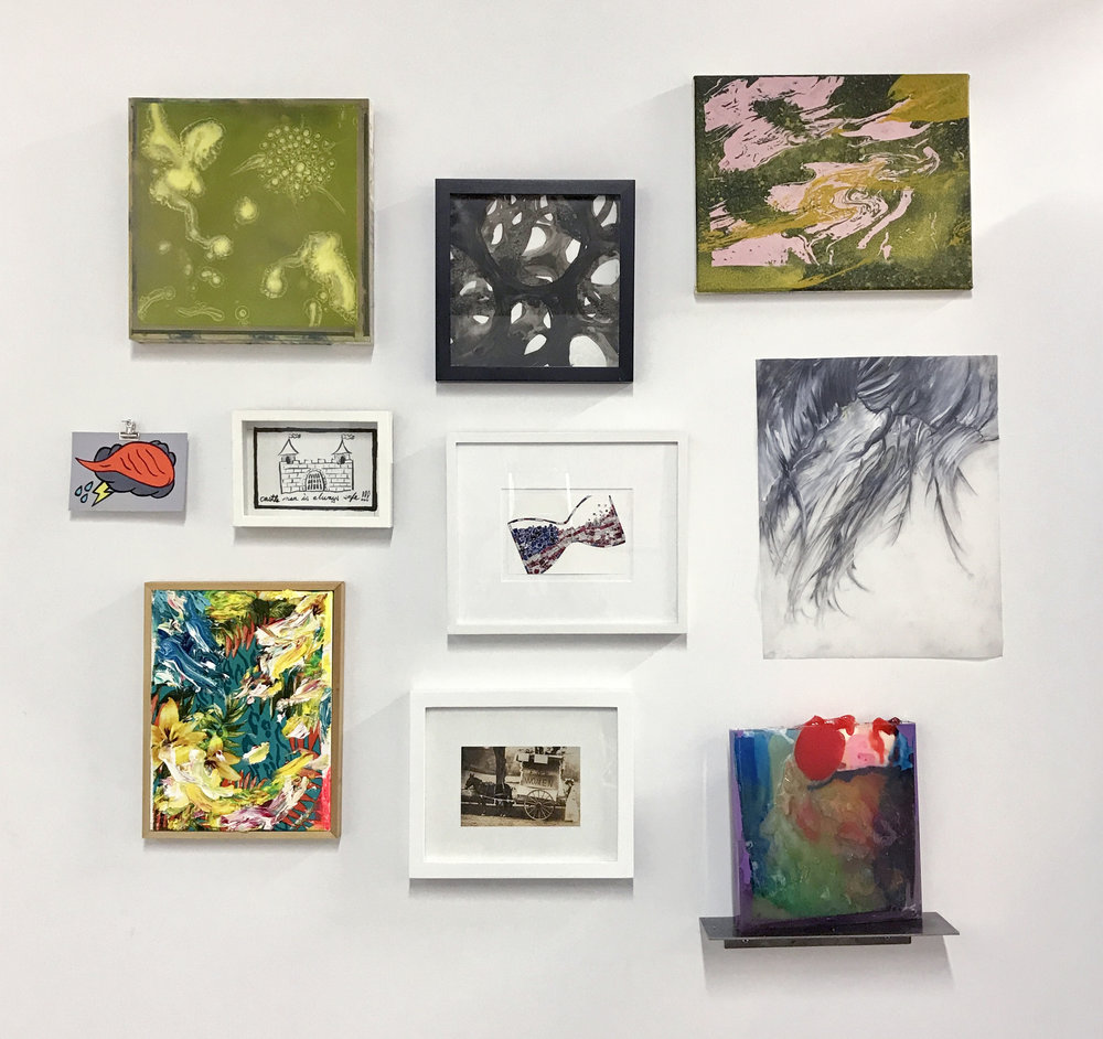 "Installation of works By row (from top left): Riad Miah, Karen Tompkins, Greg Lindquist Amanda Church, Kevin Curran, Rachel Selekman, Julia von Eichel Sebastian Vallejo, Katherine Newbegin, Ben Godward Joe Nanashe (""Give Voice"" Postcard Project table in entryway)"