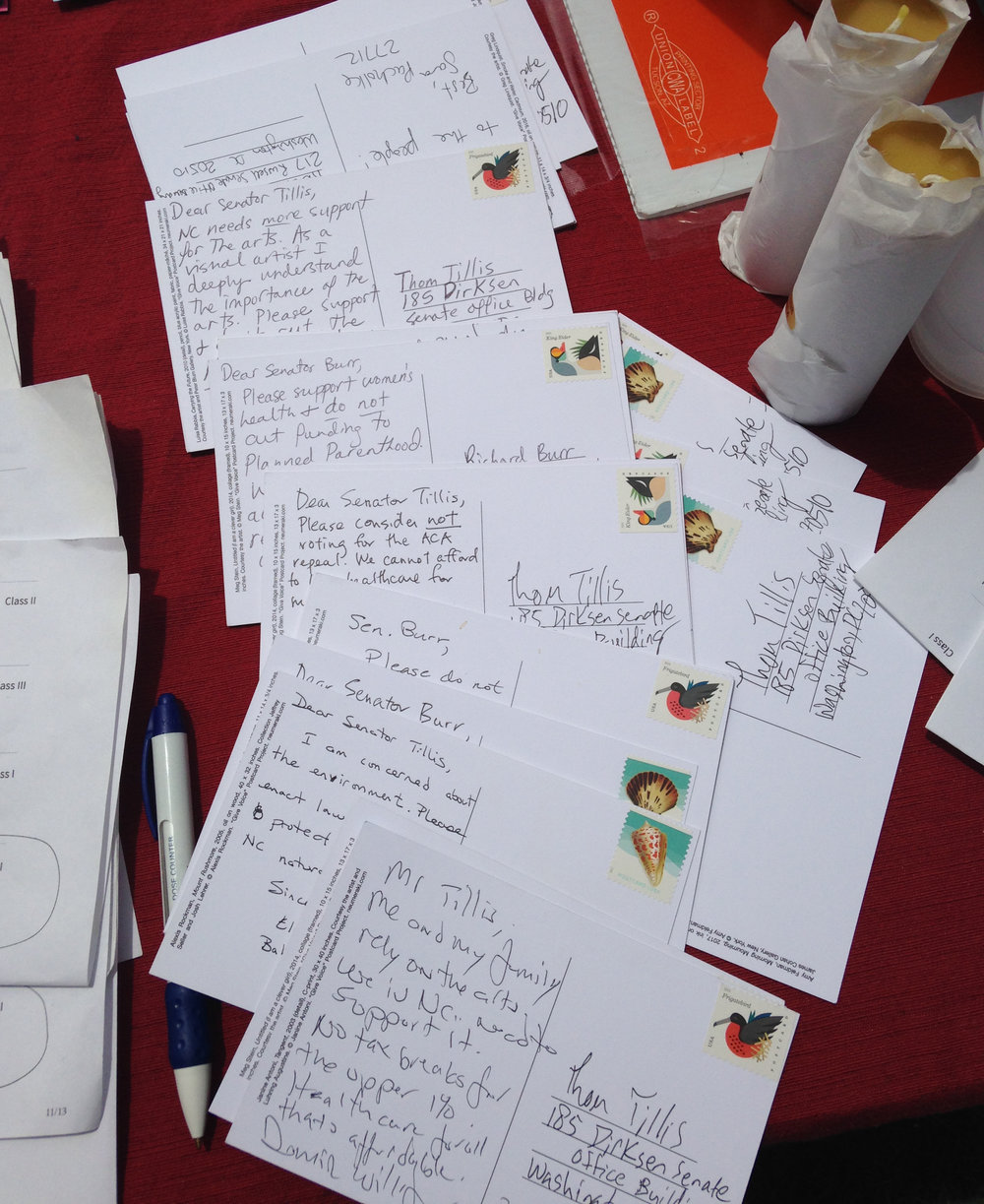 Durham Give Voice Written Postcards.JPG
