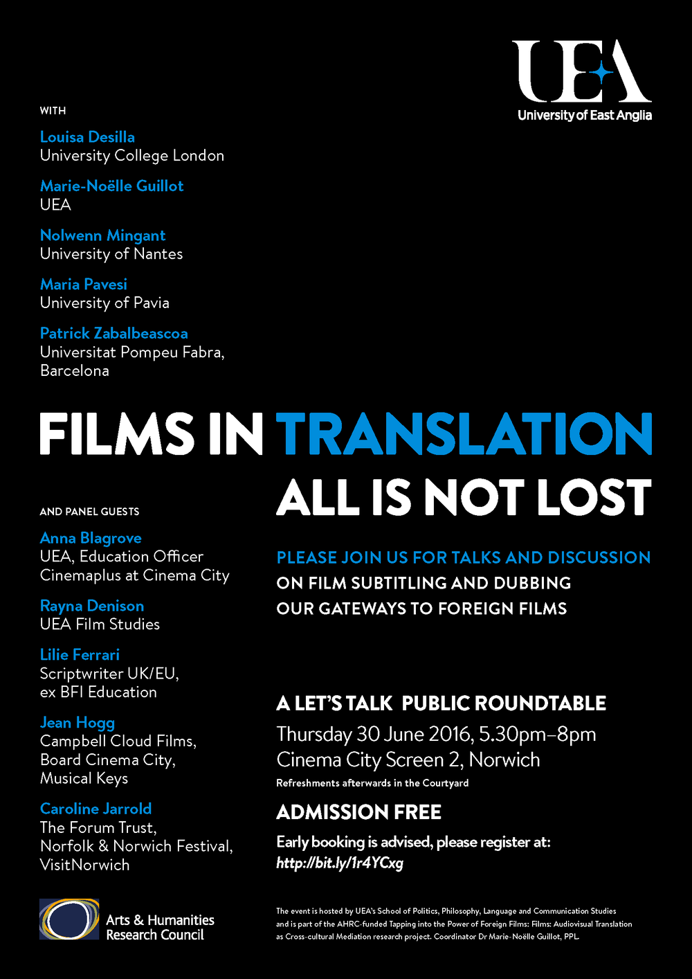 Uea films in translation audiovisual translation public roundtable cinema city norwich thursday 30 june 2016 530pm 8pm admission free fandeluxe Choice Image