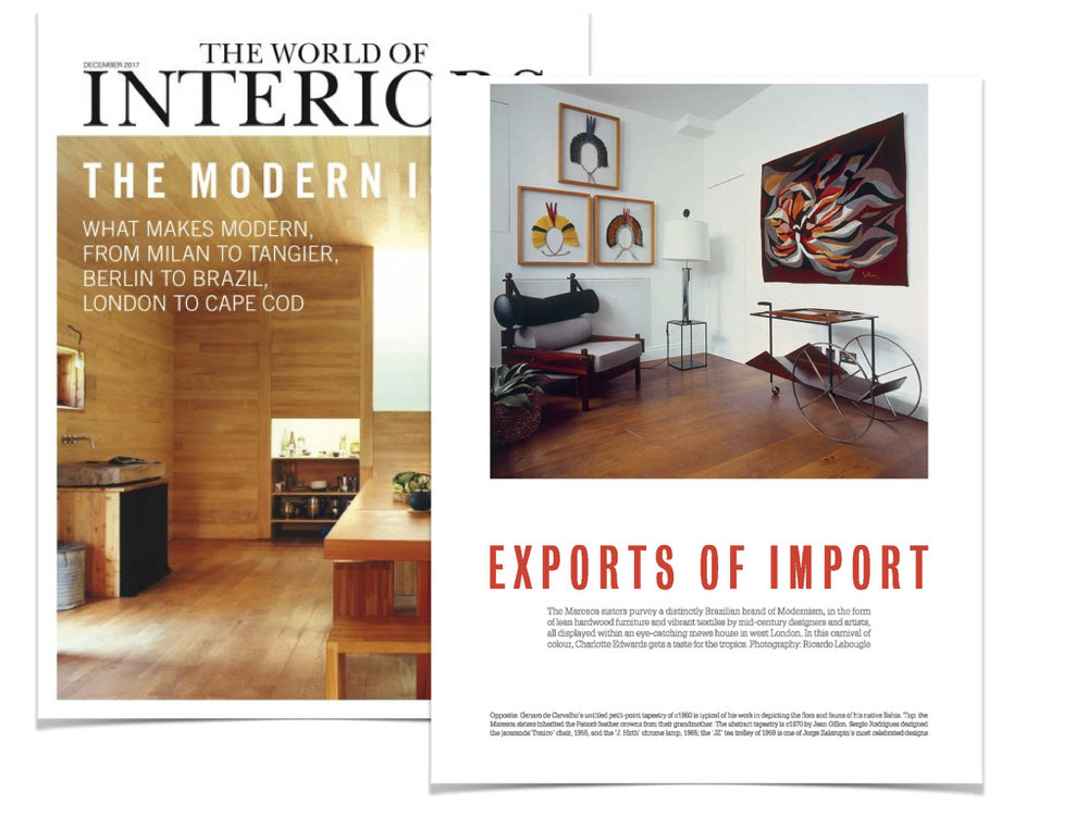The World of Interiors Magazine, UK - December 2017 - Feature on our Studio with a strong emphasis to our recent Brazilian Modern Tapestry exhibition