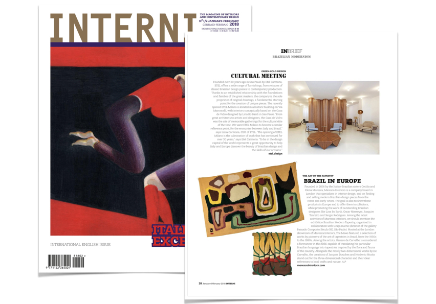 Interni Magazine, Italy - January 2018 - News Story on our recent Brazilian Modern Tapestry exhibition