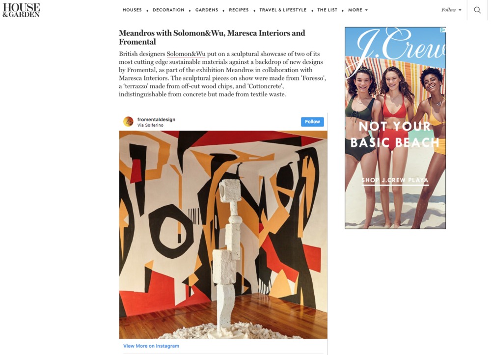 House&Garden.co.uk - April 2018 - Online news story on Meandros exhibition as one of the 'Must See' in Milano