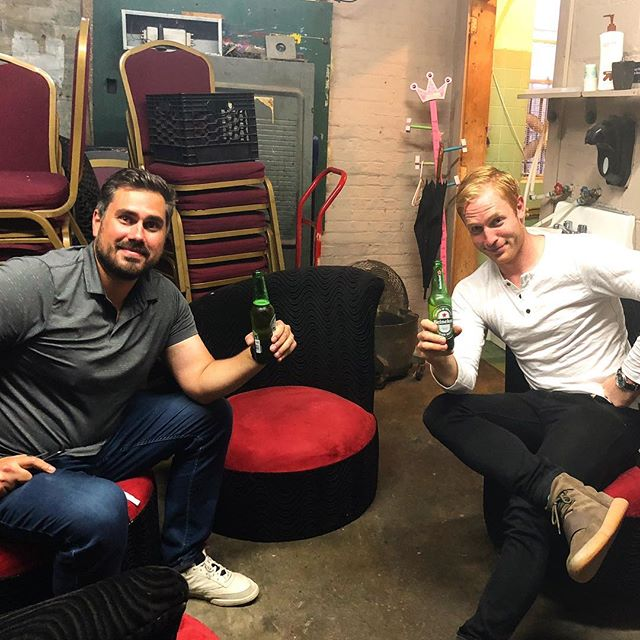 """The unglamorous side of standup comedy. @barstoolbigcat joined me in the """"green room"""" before my set last night. It was a leaky, cement-floored alley in front of a clogged toilet with no door. Some machine's fan kicked the temperature to a comfy 104 degrees as the asbestos swirled in our nostrils. But we had each other, and a couple beers, and that was enough for love. Then I went on stage and the entire audience ignored me because they saw him and thought—hoped—he might take the mic from me. Great night!! Come to @thecomedyworks in Saratoga tonight, 8 and 10pm, for my last two shows!!! Link in bio"""