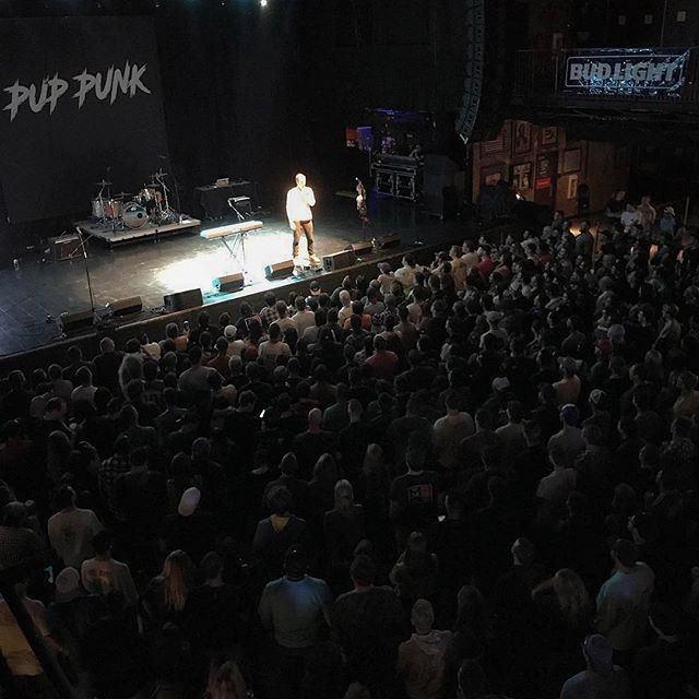 """It's different performing standup at a rock venue. The crowd does a lot more cheering than laughing. It's like """"YAAAAAAA GREAT FUCKING JOKE, TELL ANOTHER!! CLAP CLAP CLAP."""" One girl liked a joke so much, she took out her boobs! I didn't like them though. Thanks Boston & @puppunkrawx"""