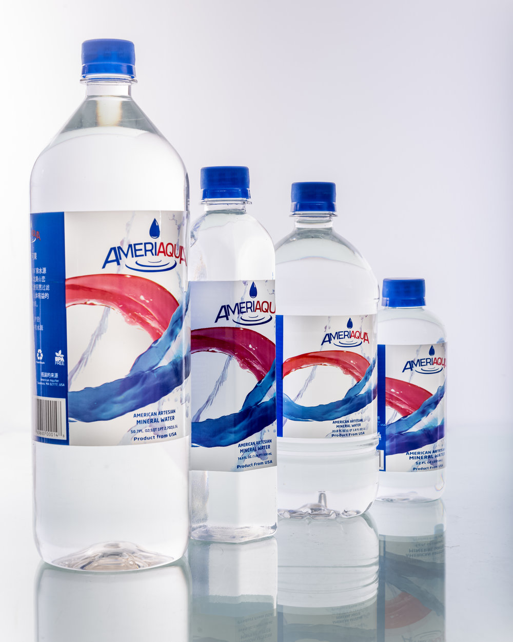 Various sizes for AmeriAqua water bottles available for the international market.